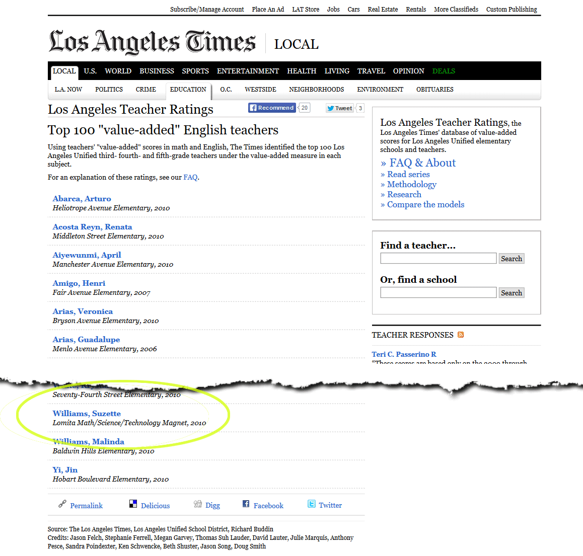 "Los Angeles Teacher Ratings Top 100 ""value-added"" English teachers"